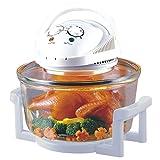 Sentik 12 Litre Premium 1300W Halogen Oven Cooker + FREE High Rack, Low Rack & Tongs (White)