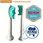 12x Philips Sonicare HX6014 Proresults Generic Compatible With DiamondClean, FlexCare, FlexCare+, HealthyWhite, Sensitive, EasyClean Replacement Brush Heads - ★Best Seller★ Maxgate™ Extra Strong, Clean Feeling, Extra Comfort, Top Quality - 100% Satisfaction Guarantee