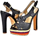 Qupid Drama-101 Black Women Platform Sandals