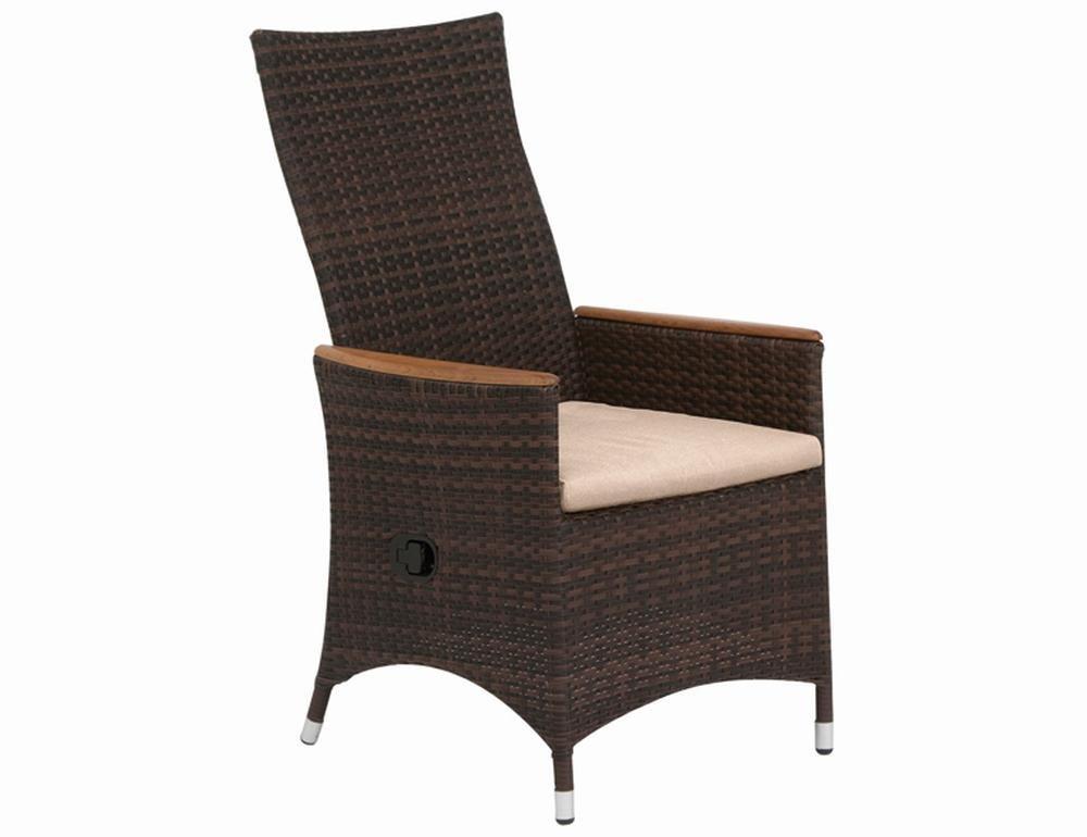 Siena Garden 167831 Sessel Move Plus II Aluminium-Gestell Gardino®-Geflecht maron inkl. Kissen beige, Armlehnen Teak FSC® 100% online bestellen