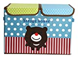 UberLyfe Foldable Kids Storage Box Organizer- Double Flap - Large (Cuddly Bear)