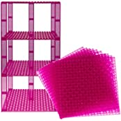 """Premium Clear Magenta Stackable Base Plates 10 Pack 6"""" X 6"""" Baseplate Bundle With 80 Clear Magenta Bonus Building..."""