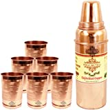 IndianArtVilla Handmade High Quality Pure Solid Copper Thermos Design Water Bottle Volume 700 ML With 6 Copper...
