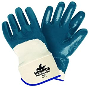 MCR Safety 9760 Predator Supported Nitrile Coated Palm Men's Gloves with Safety Cuff, Smooth, Blue/White, Large