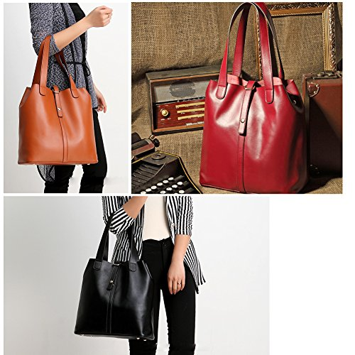 Brown Women Vintage Decent Handbag Shoulder Bag Genuine Leather Tote Lady Purse Bag