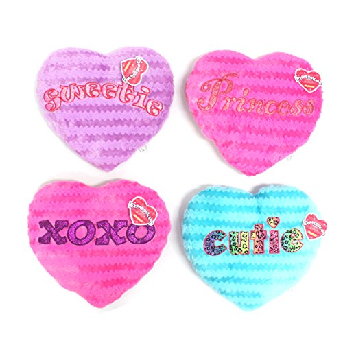 "KellyToy Girl Heart Pillow with Embroidery, 15""-Cutie, Sweetie, XOXO, Princess (XOXO)"