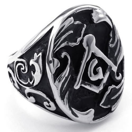 Konov Jewelry Mens Stainless Steel Ring, Freemason Masonic, Large Heavy, Black Silver, Size 13