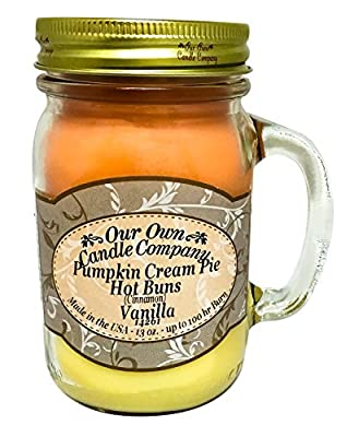 Fall Triple - Pumpkin Cream Pie, Cinnamon, and French Vanilla Scented 13 Ounce Mason Jar Candle By Our Own Candle Company
