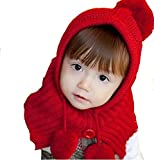 京都おかげさまで 選べるカラー 赤ずきんちゃん風 ニット帽 ポンチョ ベビー & キッズ 用 (レッド)