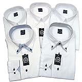 (マークモリシマ) MARK MORISHIMA 白デザインワイシャツ 襟高 ドレスシャツ 長袖 5枚組 stdu1522-L