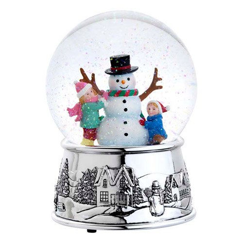 Reed & Barton 3055 Building a Snowman Snow Globe, 6.5-Inch, Plays Jingle Bells