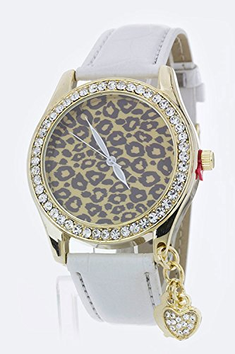 Trendy Fashion Jewelry Heart Charm Leopard Dial Crystal Watch By Fashion Destination | (White)