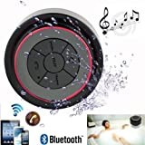 D-CLICK ® Mini Ultra Portable Waterproof Bluetooth Wireless Stereo Speakers with Suction Cup for Showers Bathroom Pool Boat Car Beach Outdoor etc. | For All Devices with Bluetooth Capability + Siri Compatible - 6 Hours Playtime / with Built-in Mic for use as a Powerful Handsfree Speakerphone (Black & Red)