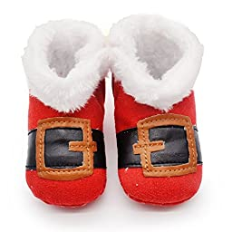 Norbi Winter Baby Warm Toddler Boots Booties High Boots Santa Red (0-6 Months)