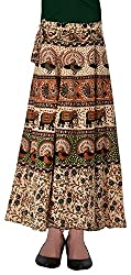 Fashiana Women's Animal Print Long Wrap Around Skirt