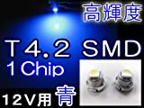 LED T4.2/1Chip/SMD/1発/青/2個セット メーター/エアコン/灰皿照明などに