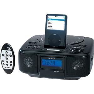 Jensen JIMS-210-BK Docking Digital Music System/Alarm Clock with CD for iPod (Black)
