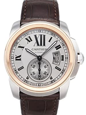 Cartier Calibre De Cartier Silver Dial Mechanical Wind Mens Watch W7100039
