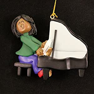 Ornament Central OC-122-FAA Female African/American Piano Player Figurine
