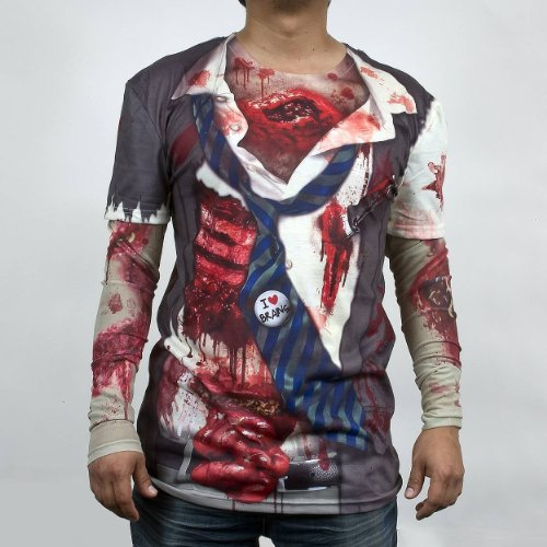 Zombie Faux Real Mens Long Sleeve Tee with Mesh Sleeves