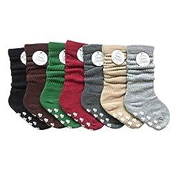 Generic Uni-sex Baby\'s Calf Cotton Grip Socks 5 pairs in pack WZET0005