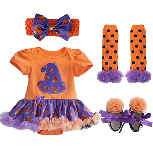 TIAOBU Baby Girls Halloween Petti Tutu Romper Headband Leg Warmer Shoes Outfits