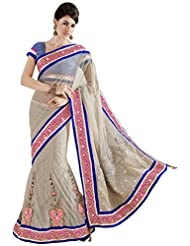 Moh Manthan Net Off White & Silver Saree (3223)