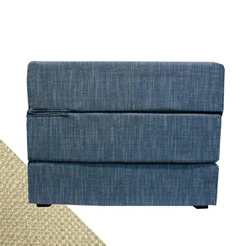 Arketicom TOUF, il Letto che diventa Puff, con Base in Jeans Azzurro e Fodera Esterna Beige 80x63x45 cm (pouf puf pouff pouffe poggiapiedi)