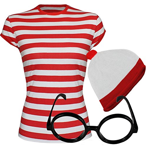 """Sofias Closet Unisex """"Dov'è Wally?"""", da donna, varie taglie, colore: bianco e rosso, cappello Costume da selezionare le opzioni"""