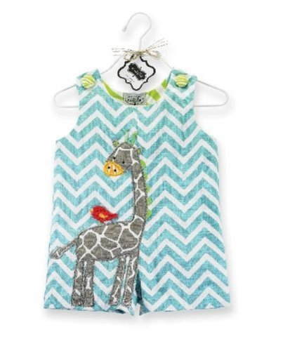 Mud Pie Boy Girl Baby Safari Giraffe Shortall Blue 0-6 Mos
