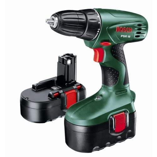 Bosch PSR 18 Cordless NiCad Drill Driver with 2 x 18 V Batteries, 1.2 Ah
