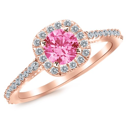 Rose Gold 14K Gorgeous Classic Cushion Halo Style Diamond Engagement Ring with a 1 Carat Natural Pink Sapphire Center