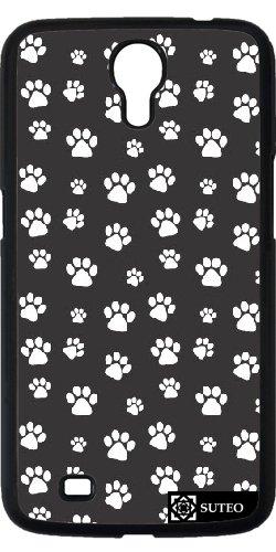 Hülle für Samsung Galaxy Mega 6.3 (GT-I9205) - Weiß Hundepfoten auf einem schwarzen Hintergrund - ref 449