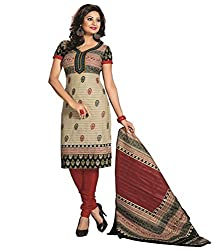 Mayur Women's Cotton Unstitched Dress Material (162034721411_Red Green_Medium)