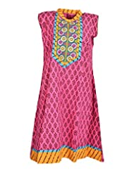 Global Women's Cotton Straight Kurta (GW22DotsS015, Multi, S)