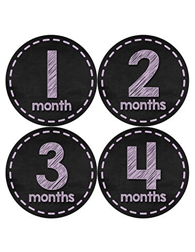 Months in Motion 432 Monthly Baby Stickers Baby Girl Chalkboard Milestone Purple - 1
