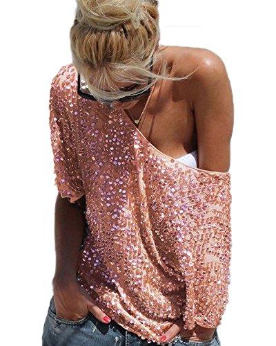Minetom Donna Sexy Senza Spalline Pipistrello Paillettes T-shirt Camicetta Top Party Obertail OL Bluse Gold IT 40
