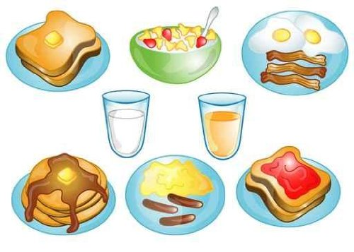 Illustrations of Different Breakfast Foods Icons - 48