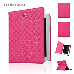 IDegg PU Leather Crown Design Bling Case with Auto Wake/Sleep and Smart Stand for Ipad 2/3/4 - Rose