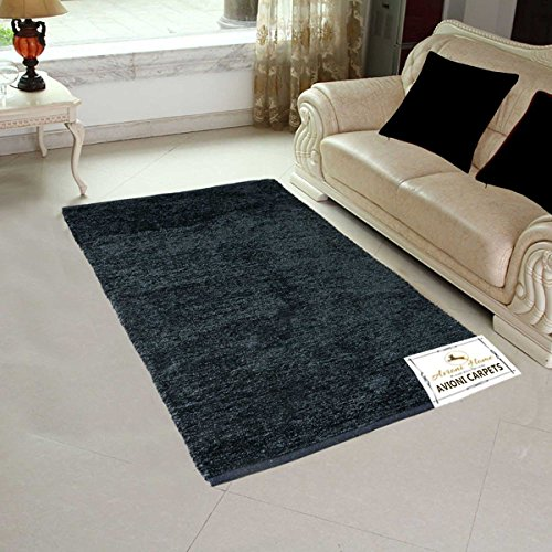 Avioni Handloom Rugs For Living Room Solid Colors Dark Gray -4 Feet X 6 Feet