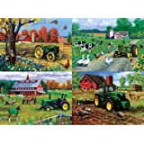 MasterPieces Puzzle Company John Deere 4-Pack Jigsaw Puzzles (500-Piece), Art by Greg Giordano