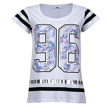 mim t shirt baseball fleuri femme m blanc v tements et accessoires. Black Bedroom Furniture Sets. Home Design Ideas