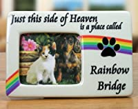 """Rainbow Bridge Pet Memorial Picture Frame & Hanging Cross Ornament Set -- """"Just This Side of Heaven Is a Place Called Rainbow Bridge"""" Saying Is Printed Next to the Square Photo Opening -- Plaque Measures 4.5""""w X 3""""h -- Cross Ornament with Paw Prints on My"""