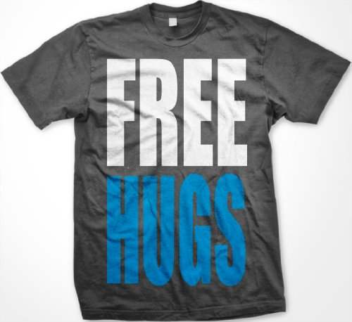 FREE HUGS Mens T-shirt, Big and Bold Funny Statements Tee Shirt,  Charcoal