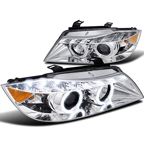 Spec-D Tuning 2LHP-E9005-8-TM Bmw E90 325 330 Chrome Clear Led Halo Projector Headlights (Projector Chrome Headlight compare prices)