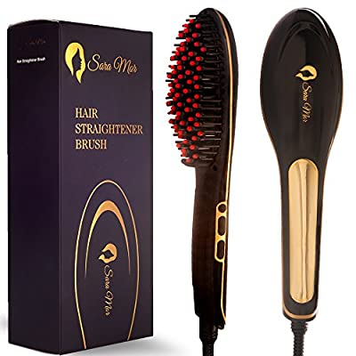 Hair Straightener Brush by Sara Mor: Heated Gold Detangle Brush Infused with Anion, Rapid Heating Ceramic Plates, and Thermal Insulation Tips plus Free Travel Bag, Cleaning Brush, and 2 Hair Clips