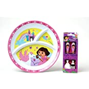 Dora The Explorer Mealtime Set - Divided Plate And Flatware Fork And Spoon