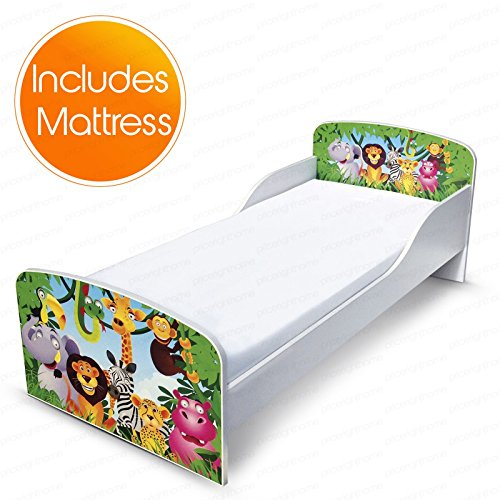 PriceRightHome Jungle Design MDF Toddler Bed no storage + Deluxe Mattress