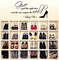 Marilyn Monroe Give A Girl Shoes....Conquer the World Quote Wall Decal Decor Large Nice Sticker by Value Decals