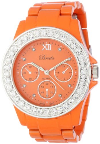 "Breda Women's 5169_Orange ""Sawyer"" Rhinestone Bezel Metal Band Watch"